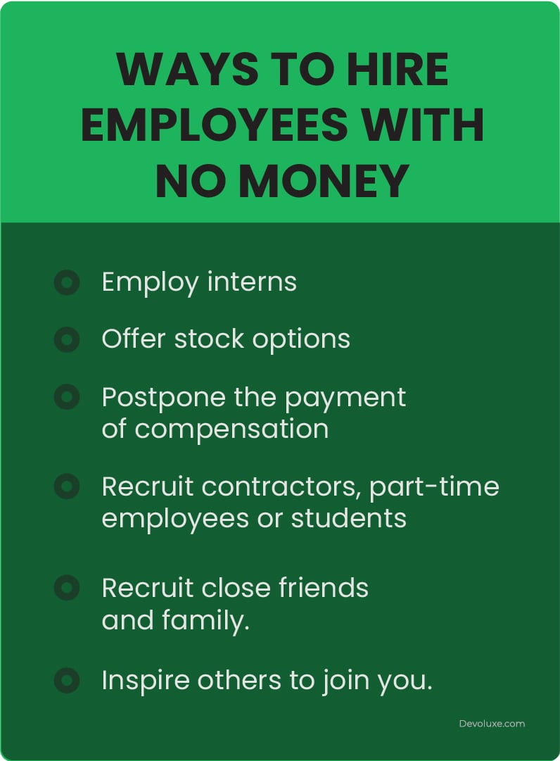 Ways to hire employees with no money employ interns offer stork options Postpons the payment of compensation Recruit contractors, part time employrees or students Recruit close friesnds and family inspire others to join you infographic