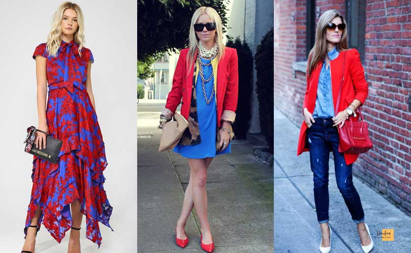 How to Combine Clothes to Look Good ? - Amazing Secrets Tips For You Red and Blue  dress