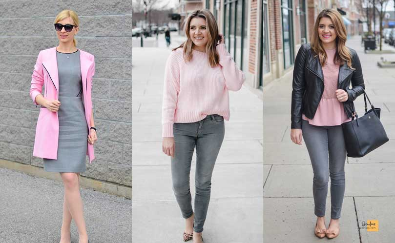 How to Combine Clothes to Look Good ? - Amazing Secrets Tips For You Pink and Grey dress
