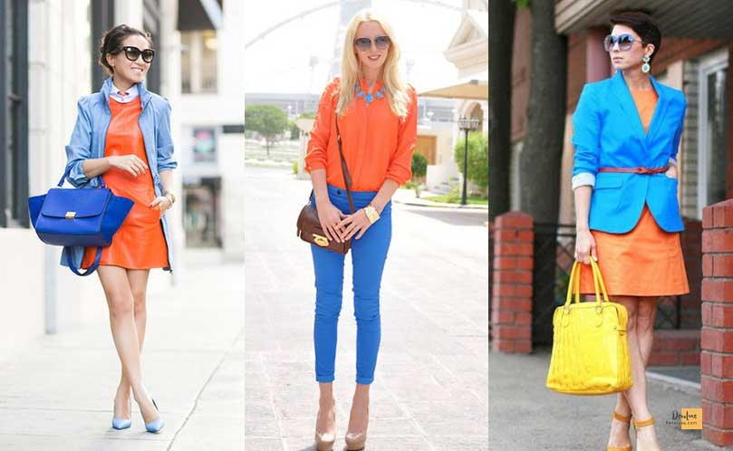 How to Combine Clothes to Look Good ? - Amazing Secrets Tips For You Orange and Blue dress