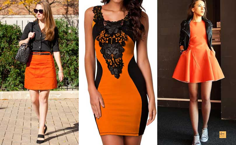 How to Combine Clothes to Look Good ? - Amazing Secrets Tips For You Orange and Black dress