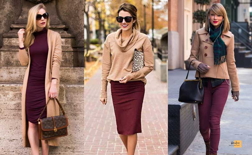 How to Combine Clothes to Look Good ? - Amazing Secrets Tips For You Tan and Maroon dress